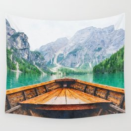 Boat in the lake watercolor painting  Wall Tapestry