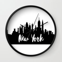 New York City Skyline SilhouetteTypography Wall Clock