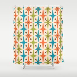 Mid Century Modern Abstract Star Pattern 441 Orange Brown Turquoise Chartreuse Shower Curtain