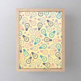 Cute Pastels Light bulb Pattern Framed Mini Art Print