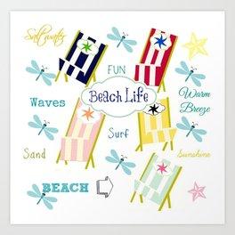 Ocean Way Royal - Beach Life - navy Art Print