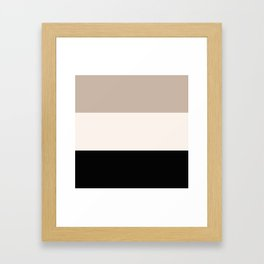black tan cream bold stripes Framed Art Print