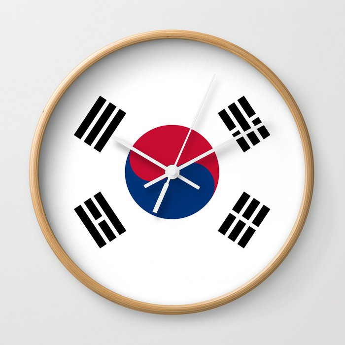 National flag of South Korea, officially the Republic of Korea, Authentic version - color and scale Wall Clock