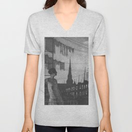 Glow of the City, Fire escape skyline cityscape black and white portrait by Martin Lewis Unisex V-Neck
