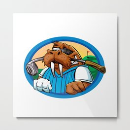 Cartoon walrus golf club Metal Print