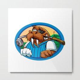 Cartoon walrus golf club Metal Print