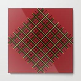 Red Diamond Plaid Metal Print