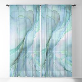 Aqua Turquoise Teal Abstract Ink Painting Sheer Curtain
