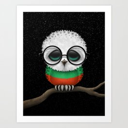 Baby Owl with Glasses and Bulgarian Flag Art Print