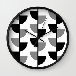 Climbing High - Black & Grey on White - Slices Series Wall Clock