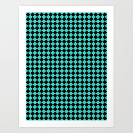 Black and Turquoise Diamonds Art Print