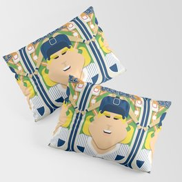 Baseball Blue Pinstripes - Deuce Crackerjack - Hazel version Pillow Sham