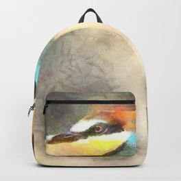 European Bee Eater In Flight Watercolor Backpack
