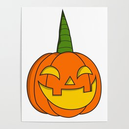 Pumpkin Unicorn Halloween Kids scary disguise gift idea kids Poster
