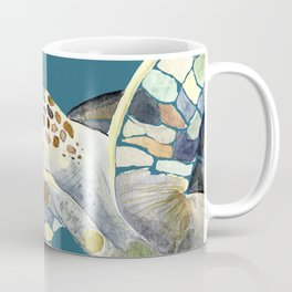 Watercolor sea turtle with teal background Coffee Mug
