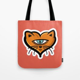 One eye cat heart Tote Bag
