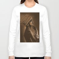 afro Long Sleeve T-shirts featuring Afro Beauty by Luis Dourado