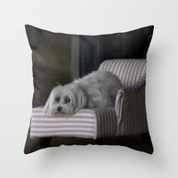 sofa Throw Pillows featuring Me and My Sofa by Anthony M. Davis