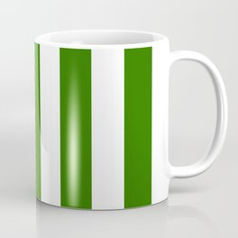 Metallic green - solid color - white vertical lines pattern Coffee Mug