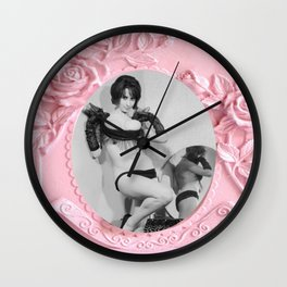 Femme Fatale - Pin Up - Pastel Pink Frame - Roses  Wall Clock