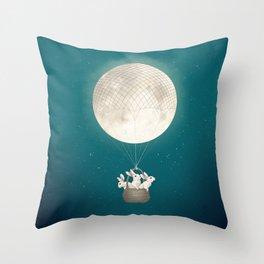 moon bunnies Throw Pillow