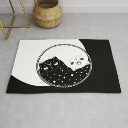 Cartoon black and white cats, yin yang sign Rug