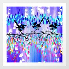 Purple fairy Wren Party Art Print