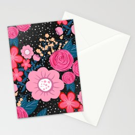 Pretty girly pink Floral Silver Dots Gray design Stationery Cards