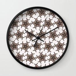 Winter Rustic Stars Lino Cut Texture Wall Clock
