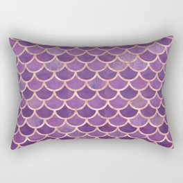 Mermaid Scales Pattern in Purple and Rose Gold Rectangular Pillow