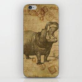 Vintage retro Hippo wildlife animal africa iPhone Skin