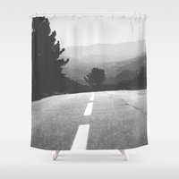 road Shower Curtains featuring road by Ingrid Beddoes