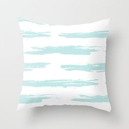 Swipe Stripe Succulent Blue and White Throw Pillow