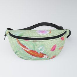 Watergarden with koi - green Fanny Pack