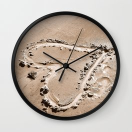 Heart in the sand Wall Clock