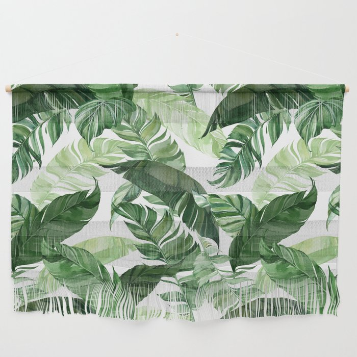 Green leaf watercolor pattern Wall Hanging