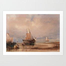 Copley Fielding (1787-1855) Vessels on the shore of Southampton Art Print