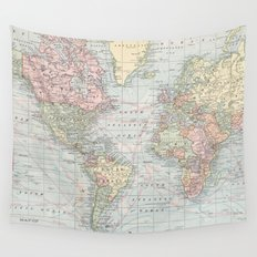 Vintage World Map (1901) Wall Tapestry