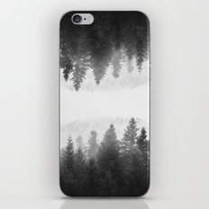 Black and white foggy mirrored forest iPhone & iPod Skin
