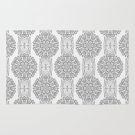 Gray white Damask ornament . Rug