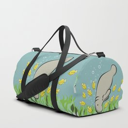 Manatee and fish Duffle Bag