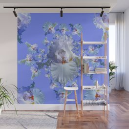 BLUE-WHITE IRIS ABSTRACT PATTERN Wall Mural