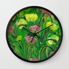 Poppies in the field Wall Clock