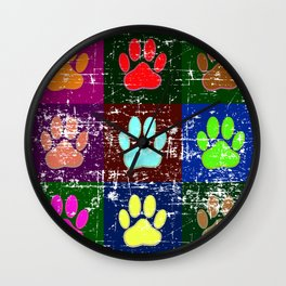 Distressed Dog Paws In Squares Wall Clock