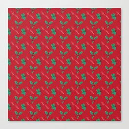 Holy Berry Happy Holidays Red Canvas Print