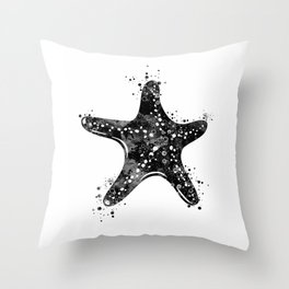 Starfish Black and White Throw Pillow