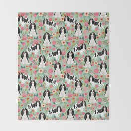 Cavalier King Charles Spaniel floral flowers dog breed pattern dogs mint Throw Blanket