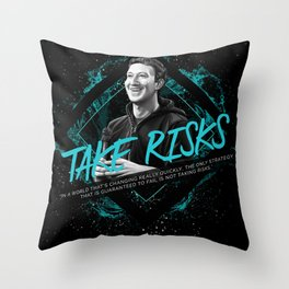 Mark Zuckerberg Motivational Art and Quote Throw Pillow