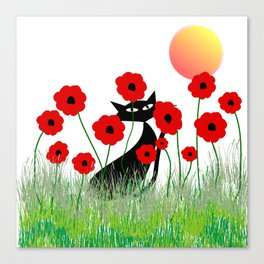 Whimsical Black Cat and Red Poppies Canvas Print