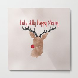 Christmas Watercolor Red Nosed Reindeer Silhouette Metal Print